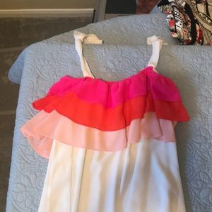 Entro Inc Tiered Ruffled Top in Ivory Combo